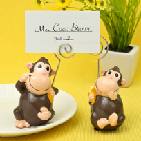 Hand Painted Ceramic Monkey Place Card/Photo Holder